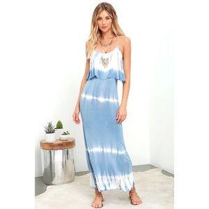 Lulus Always Artsy Grey Blue Tie Dye Maxi Dress